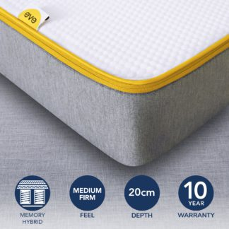 An Image of Eve Medium Firm Hybrid Mattress Grey, White and Yellow