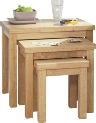 An Image of Argos Home Gloucester Nest of 3 Solid Wood Tables - Natural