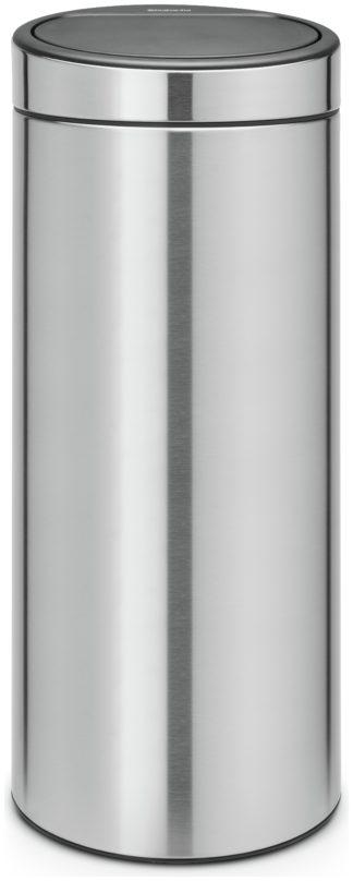 An Image of Brabantia 30 Litre Touch Top Bin - Matt Steel