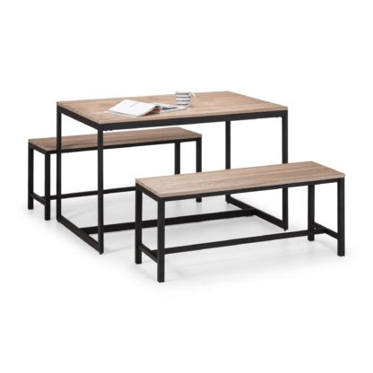 An Image of Tribeca Dining Table & 2 Benches Black
