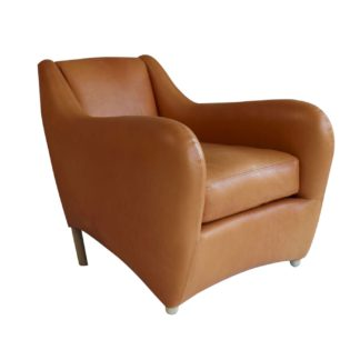 An Image of SCP Balzac Chair Utah Russet Leather Natural Fibre Filling