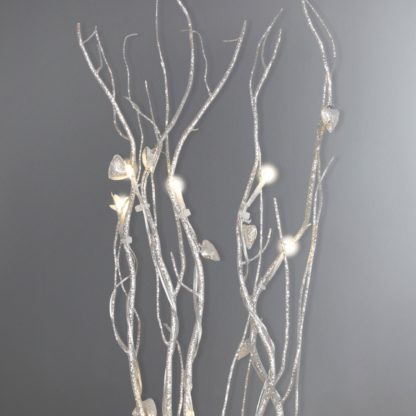 An Image of Silver Hearts Glitter Twig Lights Silver