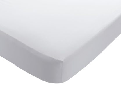 An Image of Habitat Washed White 30cm Fitted Sheet - Single