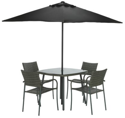 An Image of Argos Home Cusco Rattan 4 Seater Dining Set - Grey