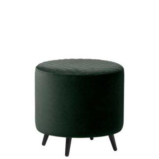 An Image of Rivington Velvet Footstool Dark Green