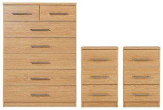 An Image of Argos Home Normandy 2 Bedsides & 5+2 Drawer Set - Oak Effect