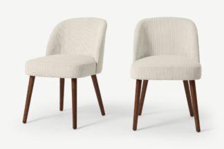 An Image of Swinton Set of 2 Dining Chairs, Ecru Corduroy Velvet with Walnut Legs