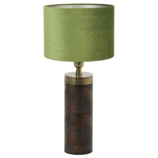 An Image of Dark Wood and Olive Table Lamp