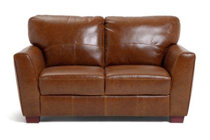 An Image of Habitat Milford 2 Seater Leather Sofa - Tan