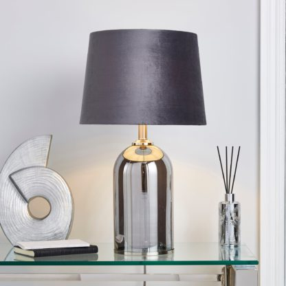 An Image of Lenny Smoked Glass Table Lamp Grey