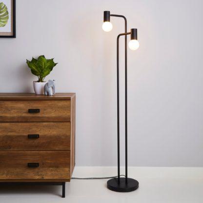 An Image of Bradford Floor Lamp Matt Black Matt Black