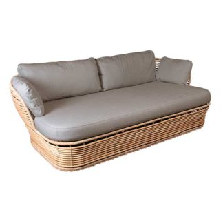 An Image of Cane Line Basket Garden Sofa in Natural with Taupe Fabric