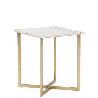 An Image of Lillian Side Table White Marble With Brass Leg