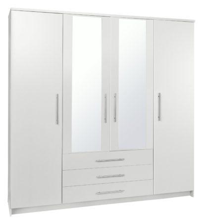 An Image of Argos Home Normandy 4 Door 3 Drawer Mirror Wardrobe - White