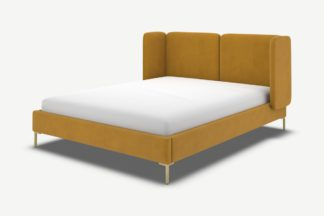 An Image of Ricola King Size Bed, Dijon Yellow Cotton Velvet with Brass Legs