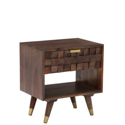 An Image of Kora 1 Drawer Side Table Sheesham Wood