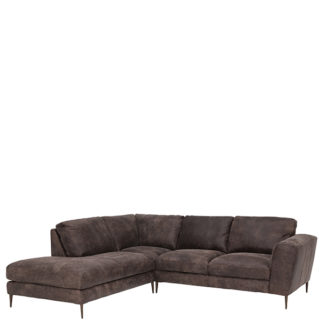 An Image of New Troy Left Hand Facing Leather Chaise Sofa