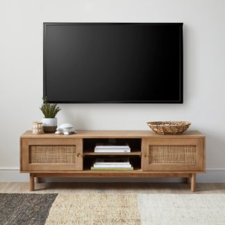 An Image of Indi Wide TV Stand Wood (Brown)