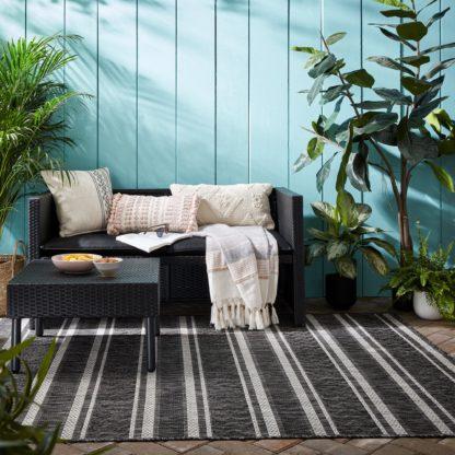 An Image of Arya Stripe Indoor Outdoor Rug Arya Stripe Black