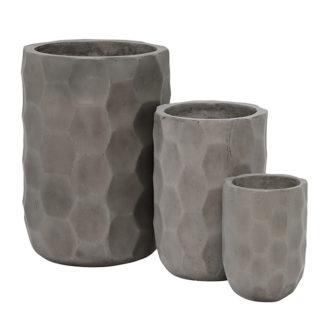 An Image of Geradis Set of 3 Pots Concrete