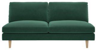 An Image of Habitat Teo 2 Seater Velvet Sofa - Green