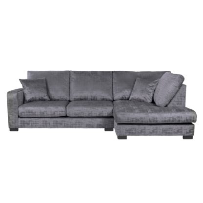 An Image of Carson Distressed Velvet Left Hand Corner Sofa Grey