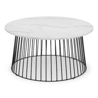 An Image of Broadway Round White Marble Coffee Table White