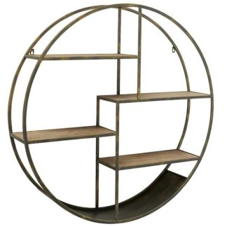 An Image of Round Wall Shelf Antique Brass and Wood