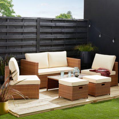 An Image of Cancun 4 Seater Rattan Taupe Modular Sofa Set Taupe