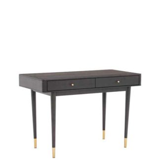 An Image of Cannelle Desk Black Ash with Black and Gold Leg