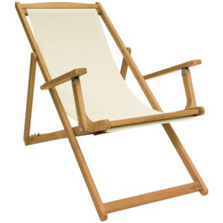 An Image of Eucalyptus Cream Wooden Deck Chair Cream and Brown