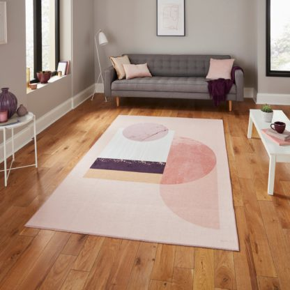 An Image of Michelle Collins Abstract Rose Crimson Rug Rose (Pink)