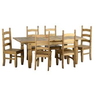 An Image of Corona Extending 6 Seater Dining Set Natural