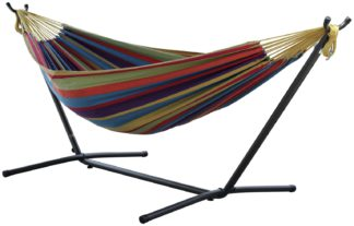 An Image of Vivere Double Cotton Hammock with Stand - Tropical