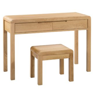 An Image of Curve 2 Drawer Dressing Table and Stool Brown