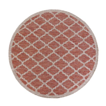 An Image of Padua Red Circle Geometric Indoor Outdoor Rug Red, Beige and White