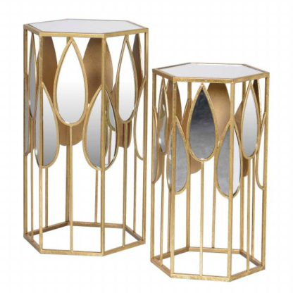 An Image of Pair of Hexagonal Mirrored Side Tables Gold and Mirrored