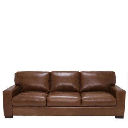 An Image of Lorenza Leather 3 Seater Sofa Fibre Seats