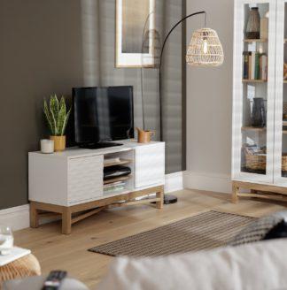 An Image of Habitat Zander Textured TV Unit - White & Oak Effect