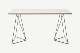 An Image of Solly Desk, White Plywood & Black Steel