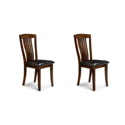 An Image of Canterbury Set of 2 Dining Chairs Brown PU Leather Mahogany (Brown)
