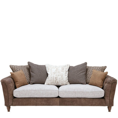 An Image of Darwin Extra Large Pillow Back Sofa Leather and Fabric Mix