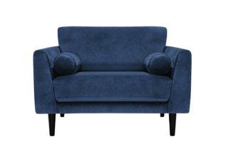 An Image of Habitat Jackson Velvet Cuddle Chair - Blue