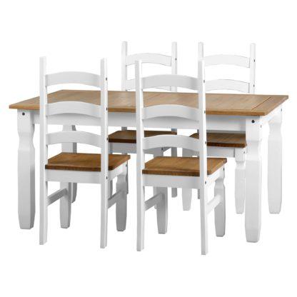An Image of Corona White 4 Seater Dining Set White