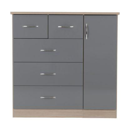 An Image of Nevada Grey 5 Drawer Compact Wardrobe Grey