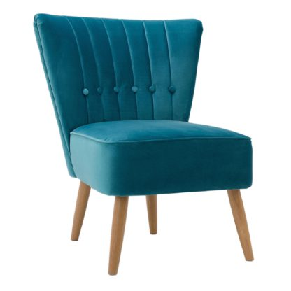 An Image of Isla Velvet Cocktail Chair - Teal Teal (Blue)
