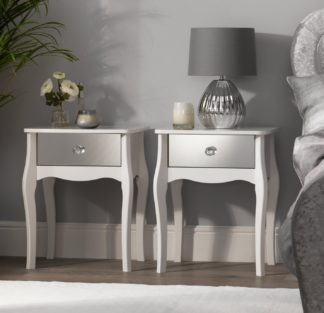 An Image of Argos Home Amelie 2 Mirrored Bedside Tables Set - White