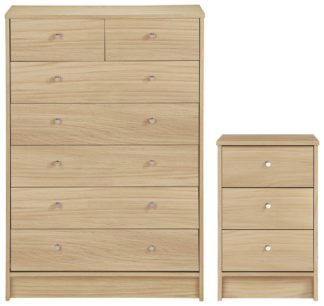 An Image of Habitat Malibu Bedside & 5+2 Drawer Set - Beech Effect