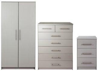 An Image of Argos Home Normandy 3 Piece 2 Door Wardrobe Set - Grey