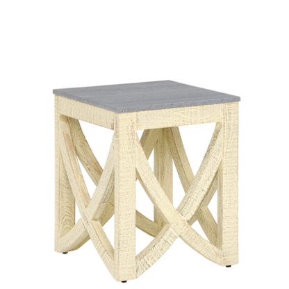 An Image of Clipper Whitewashed Side Table Grey Marble